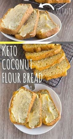 Keto coconut bread is a fantastic substitute to my regular keto bread that is nut free, gluten free and slightly lower in calories. The bread is fluffy, sliceable and totally delicious. Just make sure you keep some for yourself, because everyone will want a slice of the action. I received such an overwhelming response to my last almond flour keto bread, that I decided to make a ketogenic bread that was Nut free Keto bread, dairy free Keto bread. via @fatforweightlos Ketogenic Recipes, Low Carb Recipes, Cooking Recipes, Healthy Recipes, Ketogenic Diet, Paleo Diet, 7 Keto, Simple Recipes, Diet Foods