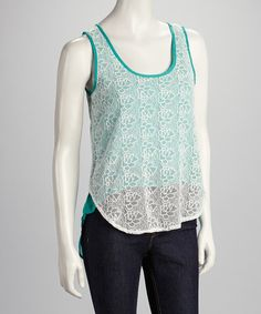 Take a look at this Jade Lace Hi-Low Tank by Available on #zulily today!$14.99, regular 35.00