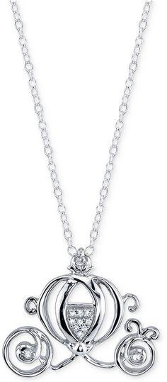 Disney Diamond Accent Cinderella Pendant Necklace in Sterling Silver
