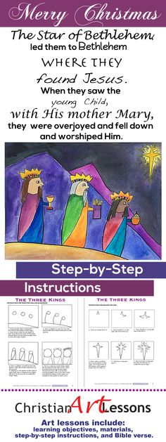 Step-by-step drawing and watercolor art lessons for Kindergarten – 4th grade. The story of The Three Wise Men, also known as The Magi, is recorded in the Gospel of Matthew. http://www.christianartlessons.com