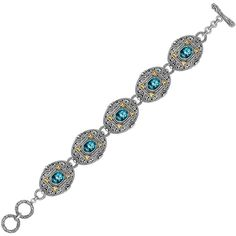 18K Yellow Gold and Sterling Silver Bracelet with Framed Blue Topaz Accents