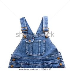 Jean infant's apron  on the white background - stock photo
