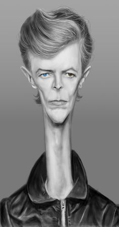 David Bowie Caricature  Is it me or does he look like an alpaca