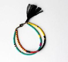 Beaded Tribal Bracelet - Layering Bracelet - Friendship Bracelet - Bracelet with Tassel - Double Strand Bracelet