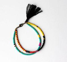 Beaded Tribal Bracelet - Layering Bracelet - Friendship Bracelet - Bracelet with Tassel - Double Strand Bracelet