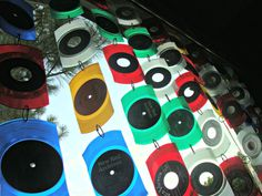 Vinyl Record Suncatcher - One Strand of 5 Pieces Made From Recycled Transparent Colored 45 rpm Records