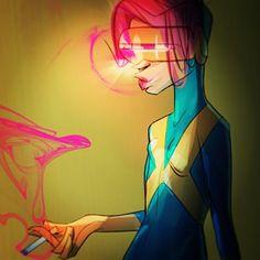A smoking female Cyclops, 'cause why not! #cyclops #xmen #comics #fanart #marvelcomics #illustration #digitalart #nacho_draws