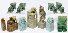 Lot 153: Asian Carved Stone Chop Stamp and Deity Object Assortment; (10) items including four soapstone carved stamps with animal or deity figures, two Fu dog statues, a stylized deity statue and four carved bowls with dragon supports