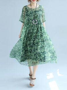 Shop Linen Dresses - Shift Casual Crew Neck Half Sleeve Cotton Linen Dress online. Discover unique designers fashion at StyleWe.com.