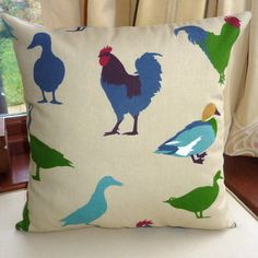 Blue chicken pillow #etsy