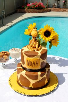 A cute giraffe cake for Dale and Mary's baby shower last weekend.  My first ever figurine!!