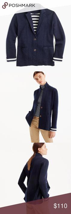NEW J. Crew Merino Wool Sweater Blazer Navy Blue Brand new with tags Merino Wool Sweater Blazer from J. Crew with striped lining. Size Large. J. Crew Jackets & Coats Blazers