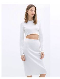 Zara Two Piece - White Pencil Skirt and White Long Sleeve Crop Top