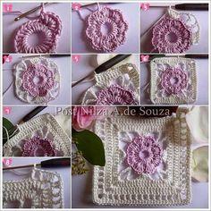 Crochet world magazine Crochet Flower Squares, Crochet Square Blanket, Granny Square Crochet Pattern, Crochet Blocks, Crochet Flowers, Crochet Granny, Love Crochet, Diy Crochet, Granny Square Häkelanleitung