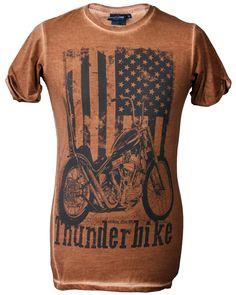 Thunderbike T-shirt - US Flag batik braun