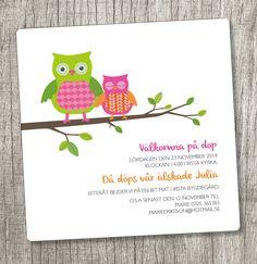 Anna Göran Design - Kvadratisk uggla #dopkort #inbjudningskort dop #dopinbjudan #uggla