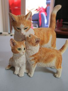 SHERRATT & SIMPSON SWEET FIGURE OF CAT WITH TWO KITTENS - FOR GREYHOUND RESCUE | eBay