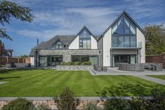 This luxurious self-build home has been built and finished to the highest standard. A perfect combination of light-filled open plan spaces, alongside small,c. Bungalow Extensions, House Extensions, Bungalow Conversion, House Designs Ireland, Rendered Houses, Self Build Houses, Bungalow Renovation, House Ideas, Exterior Remodel