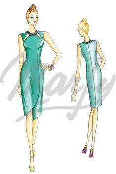 Trendy Ideas For Fashion Design Sketches Dresses Wedding Dressses Dress Illustration, Fashion Illustration Sketches, Fashion Design Sketches, Illustrations, Marfy Patterns, Dress Patterns, Modern Fashion, Retro Fashion, Fashion Art