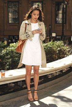 Street styles | White dress & trench coat