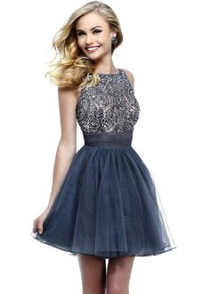 2014 Sparkly Sleeveless Backless Short Gunmetal Prom Dress