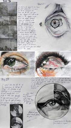 Realistic Drawings mixed media realistic eyes - Awesome A Level artwork by Elena Tomas Bort, completed at the Laude British School of Vila-real, Spain. Elena's focuses upon how to draw eyes so that they reveal emotions and reflect messages about life. A Level Art Sketchbook Layout, Gcse Art Sketchbook, A-level Kunst, Zeichnung Marilyn Monroe, Kunst Portfolio, High School Art Projects, Image 3d, Art Diary, Sketchbook Inspiration