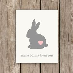 Bunny Print, Nursery Art Print, Nursery Typography with Quote, Some Bunny Loves You in Pink and Grey on Etsy, $18.00