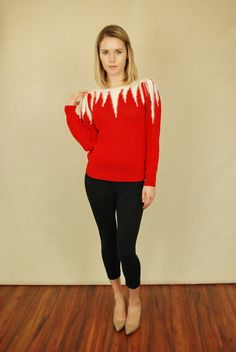 Vtg 80s Red Angora Puff Sleeve Cropped Fur Knit Icicle Punk Jumper Sweater M | eBay