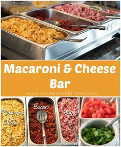 Mac and cheese is one of the best when it comes to total comfort food. So having a mac and cheese bar for your next family night or get- together is a sure … Cheese Bar, Cheese Platters, Cheese Table, Drink Bar, Macaroni Cheese, Macaroni And Cheese, Mac Cheese, Food Network, Party Food Bars