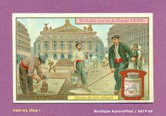 CHROMO LIEBIG : TRAVAUX PUBLICS, PAVAGE EN BOIS, ENTRETIEN VOIES PUBLIQUES -P96   Collections, Photographies, Autres   eBay!