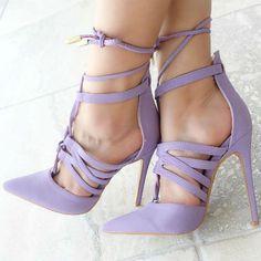 406c73e0fa94  FSJshoes -  FSJ Shoes Light Purple Strappy Heels Suede Stiletto Heels  Closed Toe Sandals