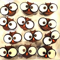 Owl Cupcakes with oreo and M for eyes/nose