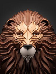 diseños 3D animales leon