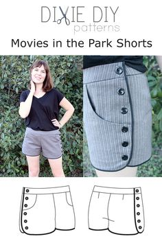 Dixie DIY Patterns: Image of Movies in the Park Shorts    Multiple possibilities for the button detailing!