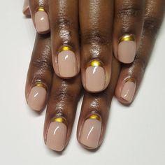 Custom nude shade x gold #reversefrench. #naturalnails #nailart #handpainted #gelpolish #ignails #naillife #amivega