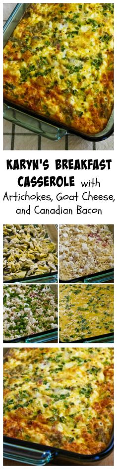 This breakfast casserole recipe from my step-sister Karyn has artichoke hearts, goat cheese, and Canadian bacon, and this is a delicious breakfast option that's #LowCarb and #GlutenFree.  I use frozen artichoke hearts for this, and it's a great option when you want a special breakfast for guests.  [from KalynsKitchen.com]