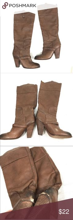 Sam Edelman Brown Heeled Riding Boots Overall good used condition. The only flaw is on the back as pictured which can probably be fixed easily and re polished Sam Edelman Shoes Heeled Boots