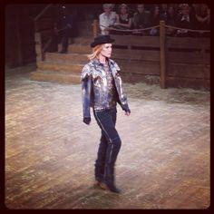@Erin B Wasson walks for #Chanel Paris-Dallas show in a cow-girl outfit #chaneldallas #itsdallasbaby