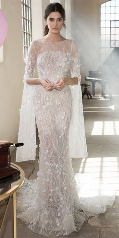 Chantilly long sleeves luxurious beaded embroidery and floral embellishments mermaid wedding gown : Lee Petra Grebenau Wedding Dresses 2018 – Symphony In White 2018 bridal collection Kebaya Wedding, Muslimah Wedding Dress, Floral Wedding Gown, Hijab Wedding Dresses, Sheath Wedding Gown, Wedding Dresses 2018, Lace Mermaid Wedding Dress, Wedding Dress Trends, Backless Wedding