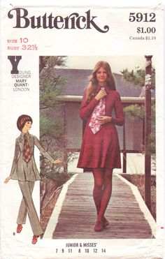 60s Butterick Pattern 5912 Mary Quant Womens Dress by CloesCloset, $22.00