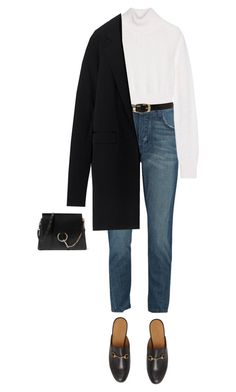 A fashion look from February 2017 featuring ivory turtleneck sweater, Reed Krakoff and cowboy blue jeans. Browse and shop related looks. Winter Fashion Outfits, Fall Winter Outfits, Work Fashion, Autumn Fashion, 90s Fashion, Fashion Tips, Classy Outfits, Chic Outfits, Elegantes Outfit