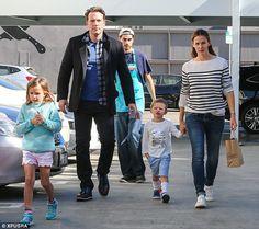 Still putting on a united front: Jennifer Garner and Ben Affleck took all three children o...