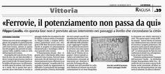 «Ferrovie, il potenziamento non passa da qui» Filippo Cavallo   Comitato Pendolari Siciliani