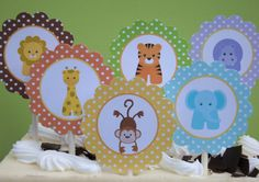 BABY JUNGLE ANIMALS Printable Cupcake Toppers , Favor Tags, Party Circles, Decorations/First Birthday or Baby Shower/Zoo Animals/Safari