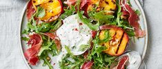 Juicy peaches give a sweet contrast to creamy burrata and serrano ham in this showstopping summer salad. Make our peach salad for a dinner party Grilled Peach Salad, Grilled Peaches, Dinner Party Desserts, Dinner Recipes, Burrata Recipe, Vegetarian Appetizers, Homemade Pasta, Fabulous Foods, Summer Salads