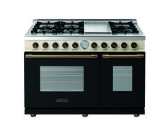 Range DECO 48'' Classic Black matte and Cream Dual Color with Bronze trim, 6 gas, griddle and 2 gas ovens with the main cavity equipped with 2 convection fans and broiler. Also available in Dual Fuel option with self-cleaning capabilities.