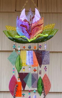 Kirks vidrio arte fundido vidrieras carillón de viento windchime - Parrot Tulip