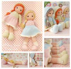 Little Yarn Dolls / PDF Doll Knitting Pattern/ por maryjanestearoom