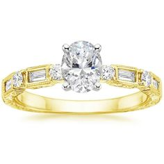 Oval Cut Vintage Diamond Baguette Engagement Ring - 18K Yellow Gold