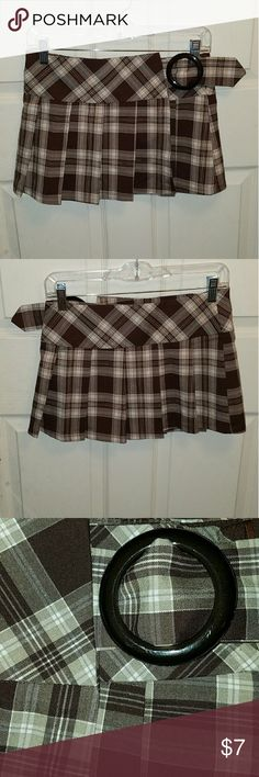 Brown plaided mini skirt Great for naughty school girl costume. Only been worn once. 65% polyester  25% raylon 10% spandex Deb Skirts Mini